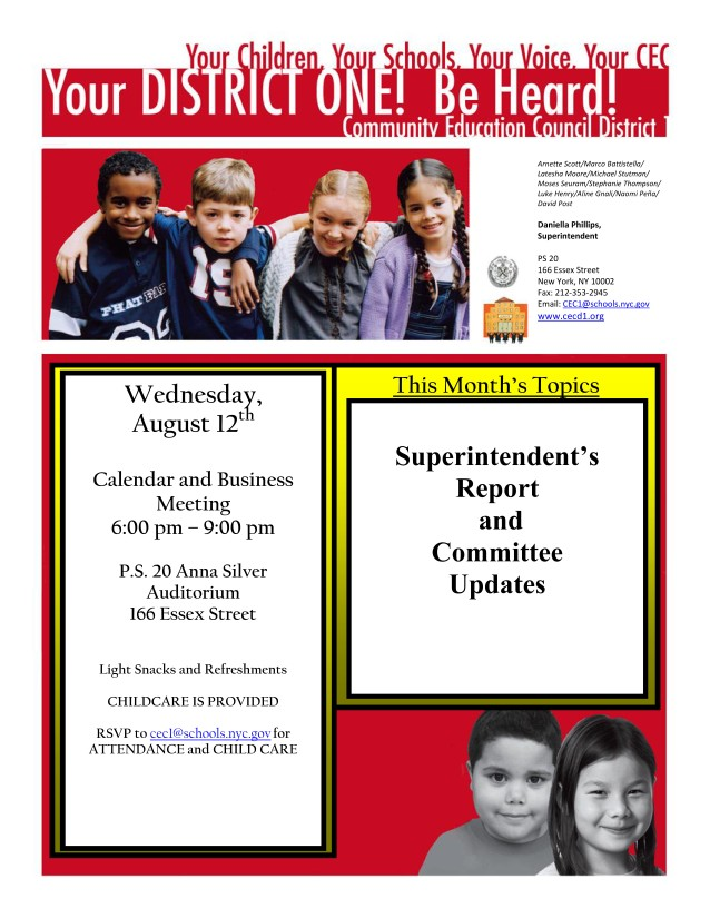 Flyer_August 12 2015 CEC 1 Calendar and Business Meeting