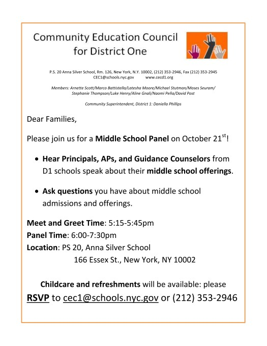 Middle School Panel Flyer for Families