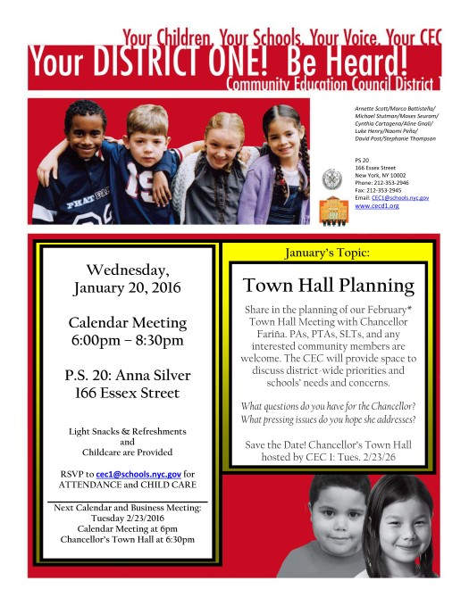 Jan 20 CEC1 Calendar Meeting Town Hall Planning